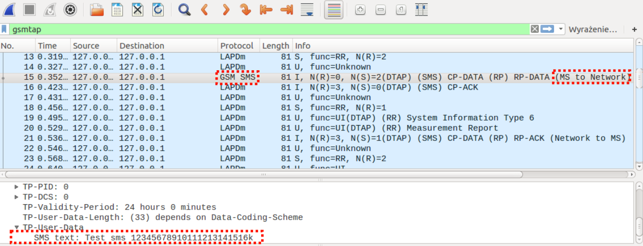 Uplink SMS in Wireshark